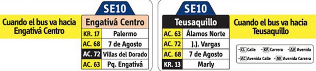 tabla de la ruta SE10 del SITP