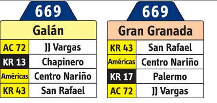 Tabla de la ruta 669 SITP