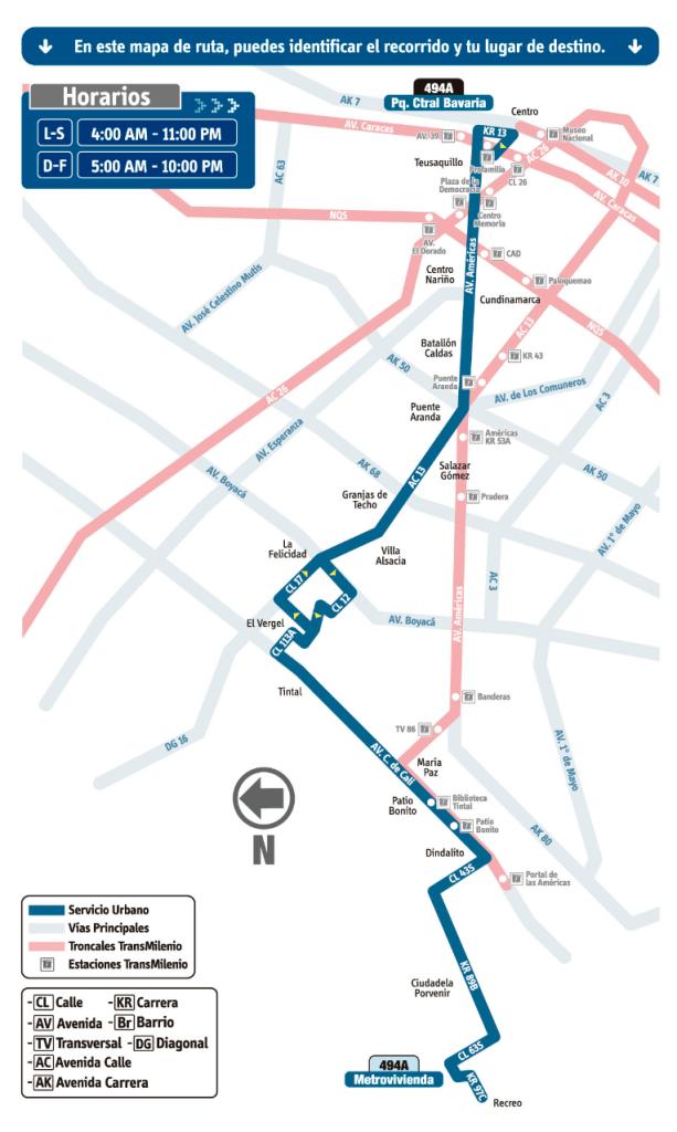 este es el mapa de la Ruta 494A Pq. Ctral Bavaria - Metrovivienda del Sistema integrado de transporte SITP Bogottá