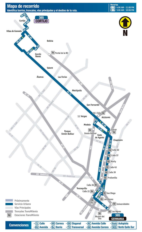 Mapa de la Ruta 385 SITP