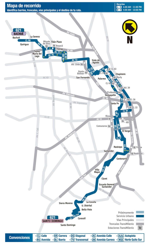 Mapa de la Ruta 621 SITP