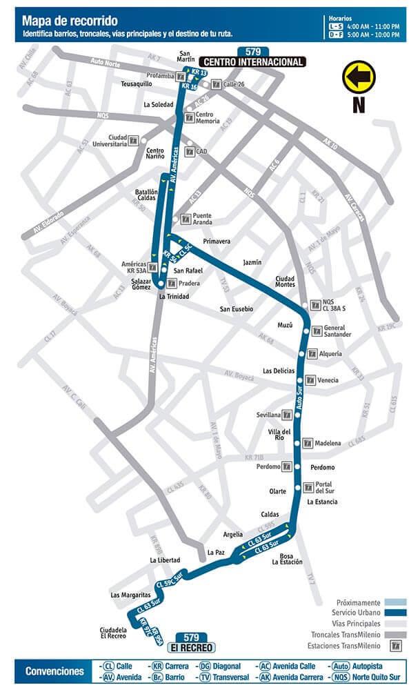 Mapa de la ruta 579 del SITP