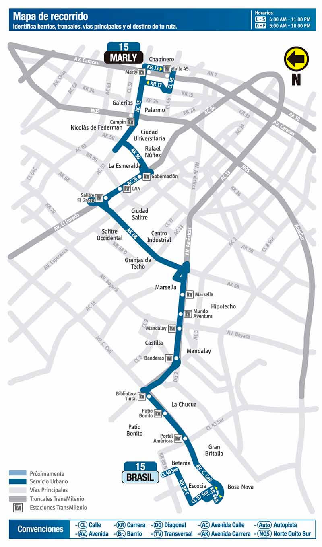 Mapa de la ruta 15 del SITP