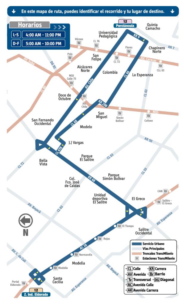 mapa Ruta 12 Z. Ind. Eldorado - Porciúncula SITP Bogotá