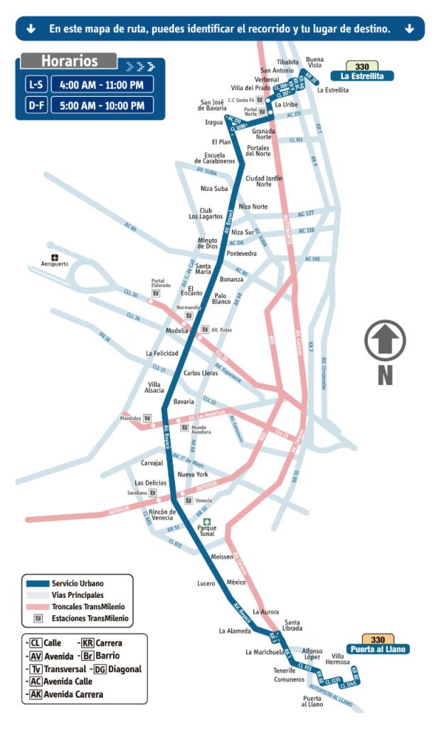 mapa de Ruta 330 La Estrellita - Puerta al Llano SITP Bogotá