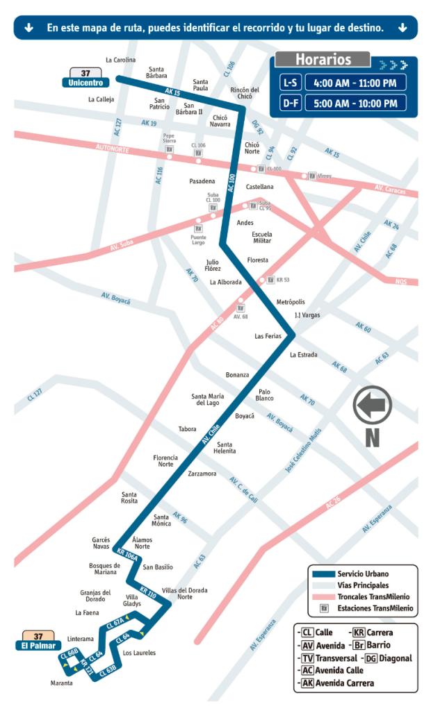 mapa Ruta 37 El Palmar - Unicentro (Engativá - Usaquén) SITP Bogotá