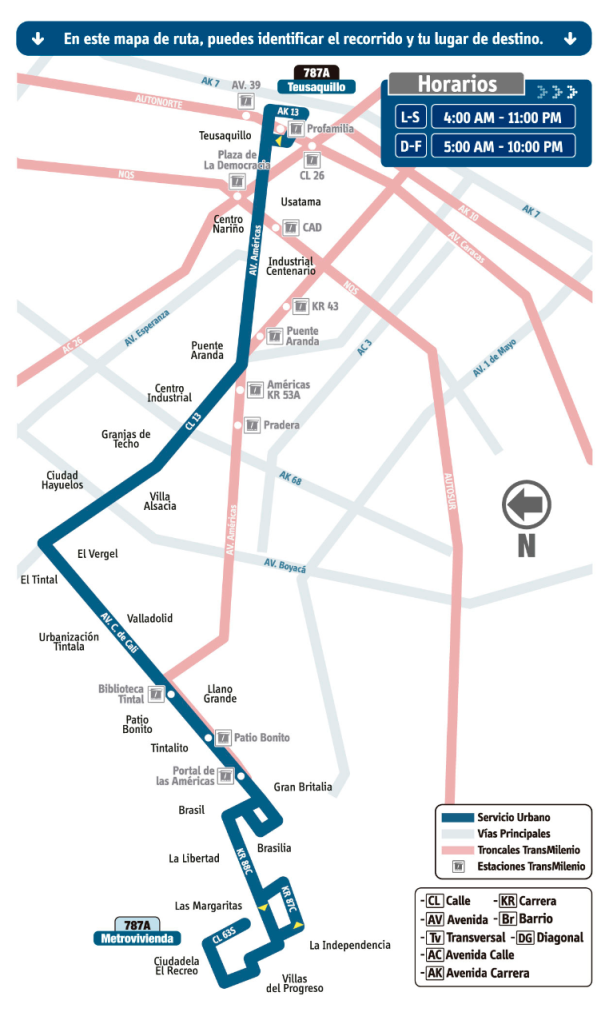 este es el mapa de la Ruta 787A Bosa -  Centro SITP Bogotá