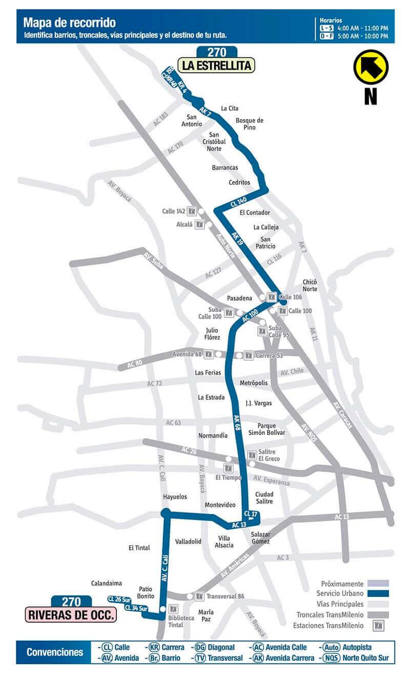 mapa de la ruta 270 del SITP