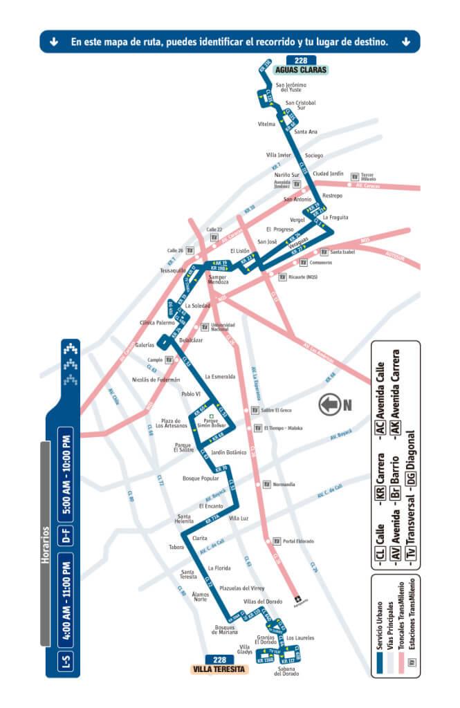 mapa de la Ruta 228 Villa Teresita – Aguas Claras SITP Bogota