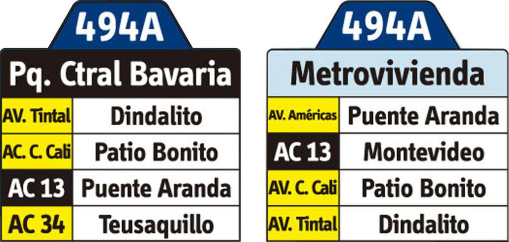 tabla de la ruta 494A del SITP
