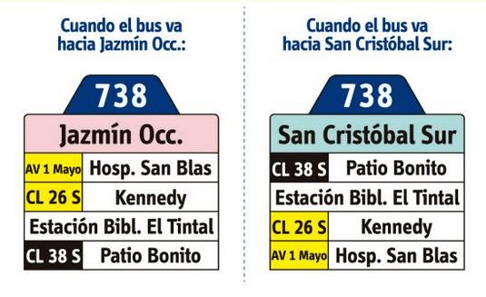 tabla de la ruta 738 del SITP