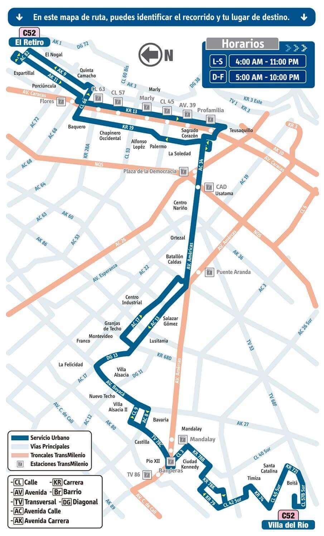 Mapa de la ruta C52 SITP