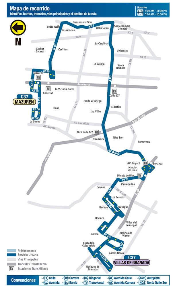 Mapa ruta C37 SITP