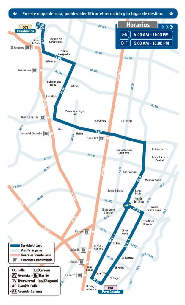 mapa de Ruta E61 Casablanca – Porciúncula