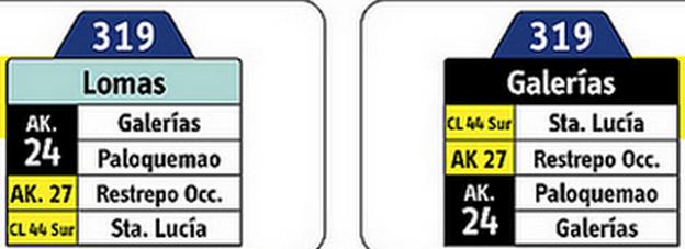 tabla de la ruta 319 sitp