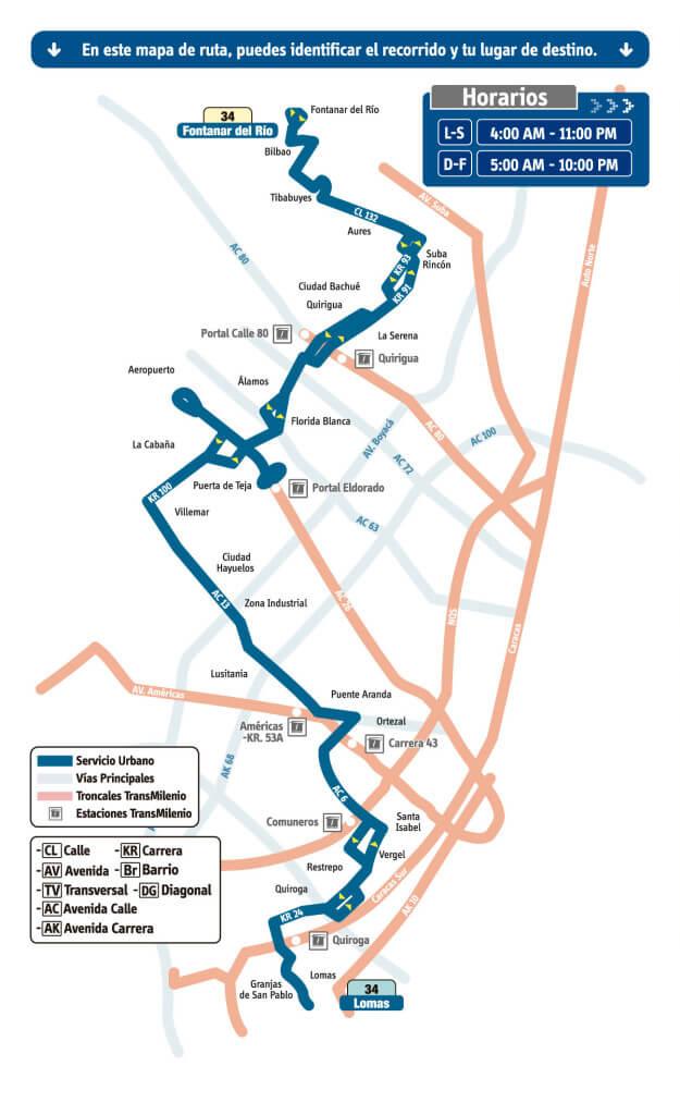 mapa de la Ruta 34 Lomas - Fontanar del Río del sistema integrado de transporte. SITP, Bogotá