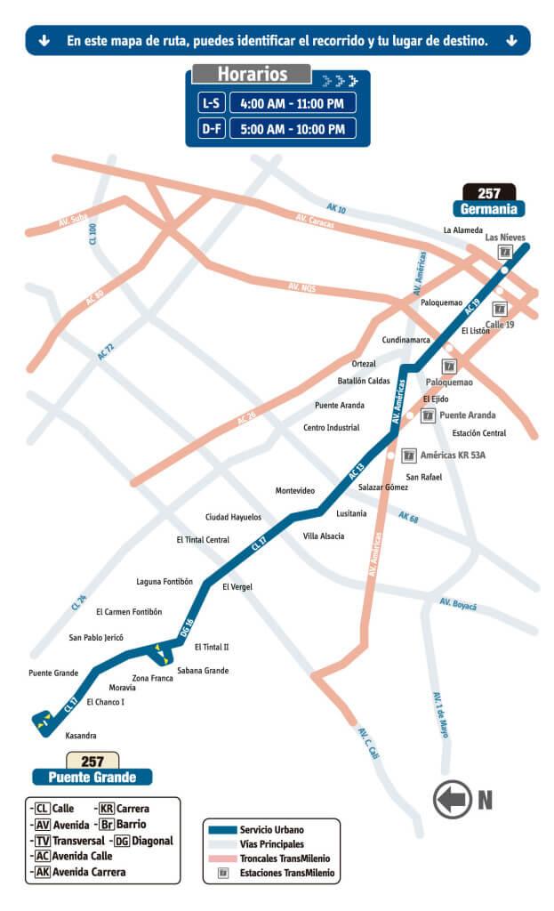 mapa de la Ruta 257 Puente Grande - Germania SITP bogotá