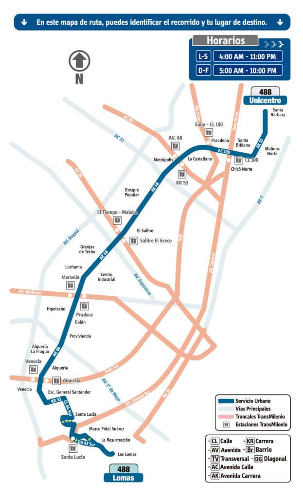 mapa de la Ruta 488 Unicentro - Lomas del sistema integrado de transporte. SITP, Bogotá