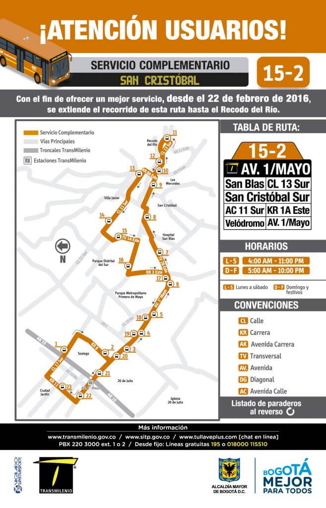 Mapa de la Ruta15-2 sitp Complementario