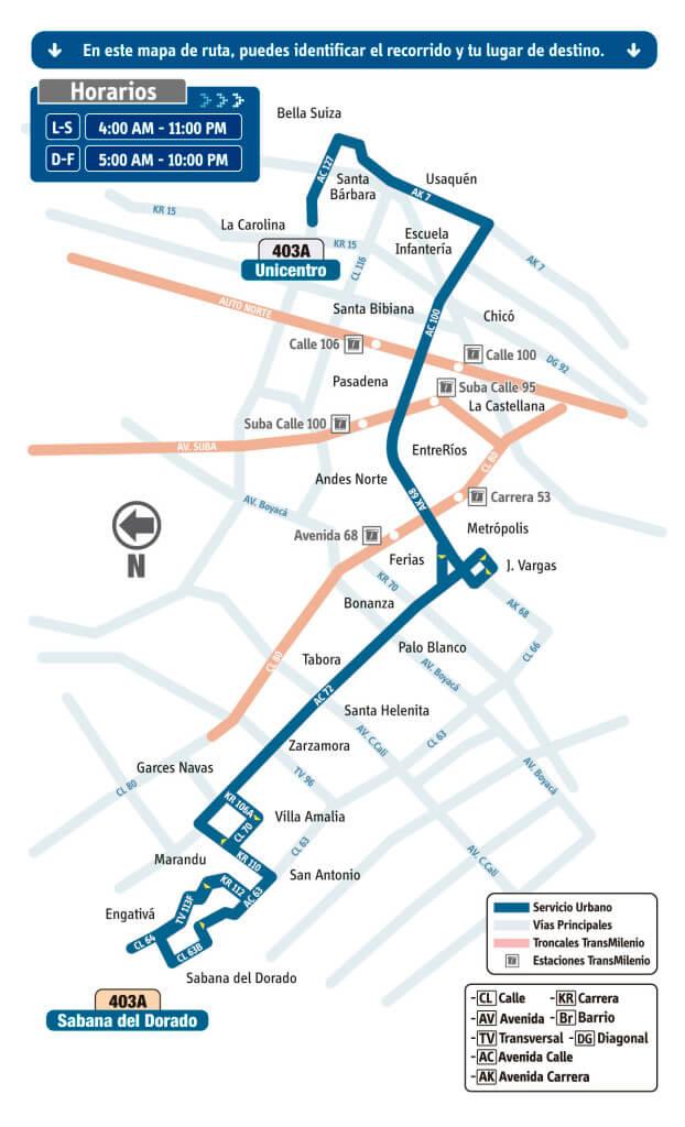 mapa de la Ruta 403A Sabana del Dorado – Unicentro del SITP bogotá