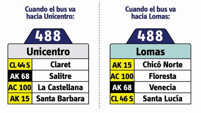 tabla de la ruta 488 del SITP