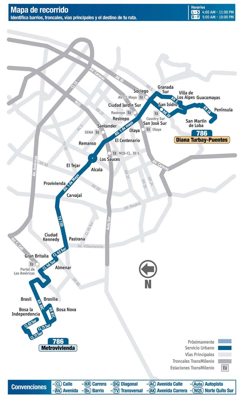 Mapa de la Ruta 786 SITP