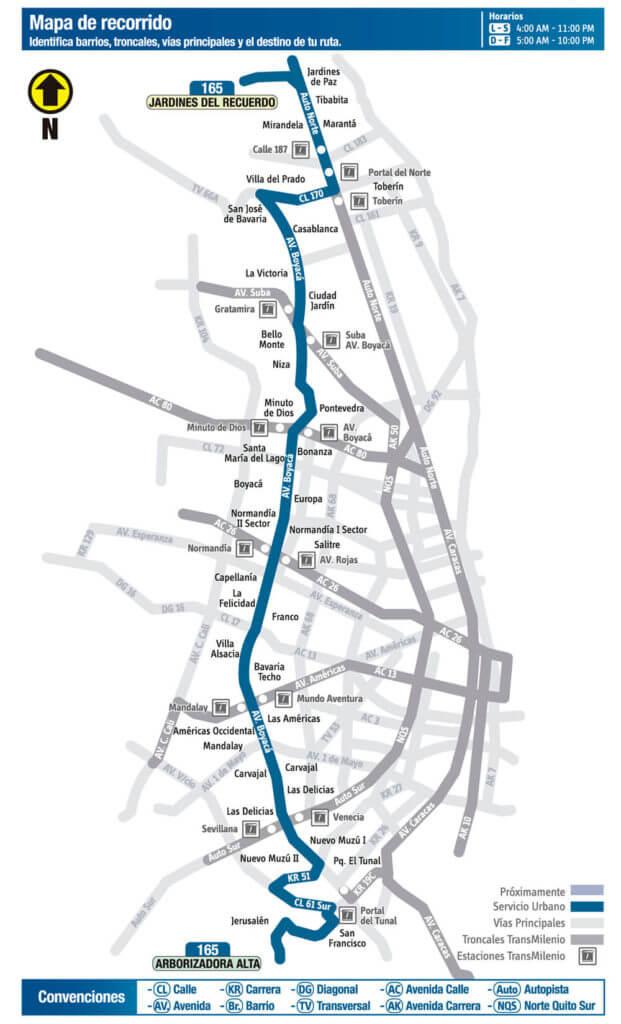 Mapa ruta 165 del SITP
