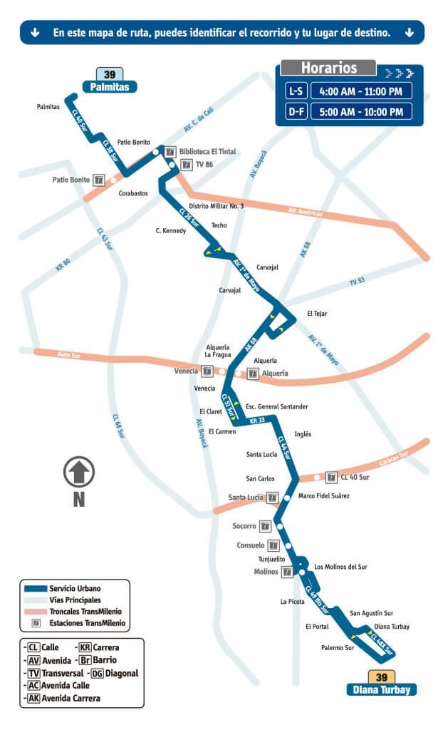 mapa de la Ruta 39 Palmitas - Diana Turbay Rutas SITP