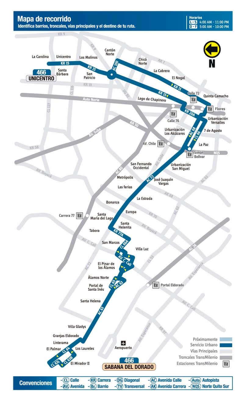 Mapa de la Ruta 466 del SITP