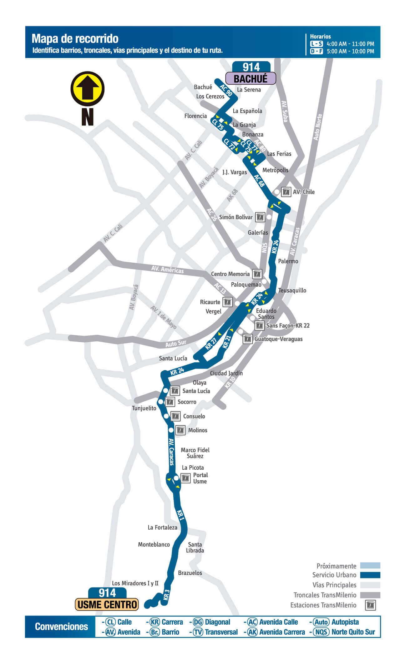 Mapa de la Ruta 914 SITP