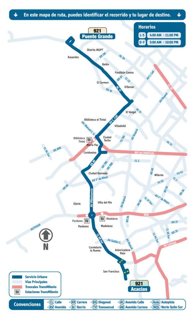 mapa de la Ruta 921 Puente Grande - Acacias rutas sitp bogota