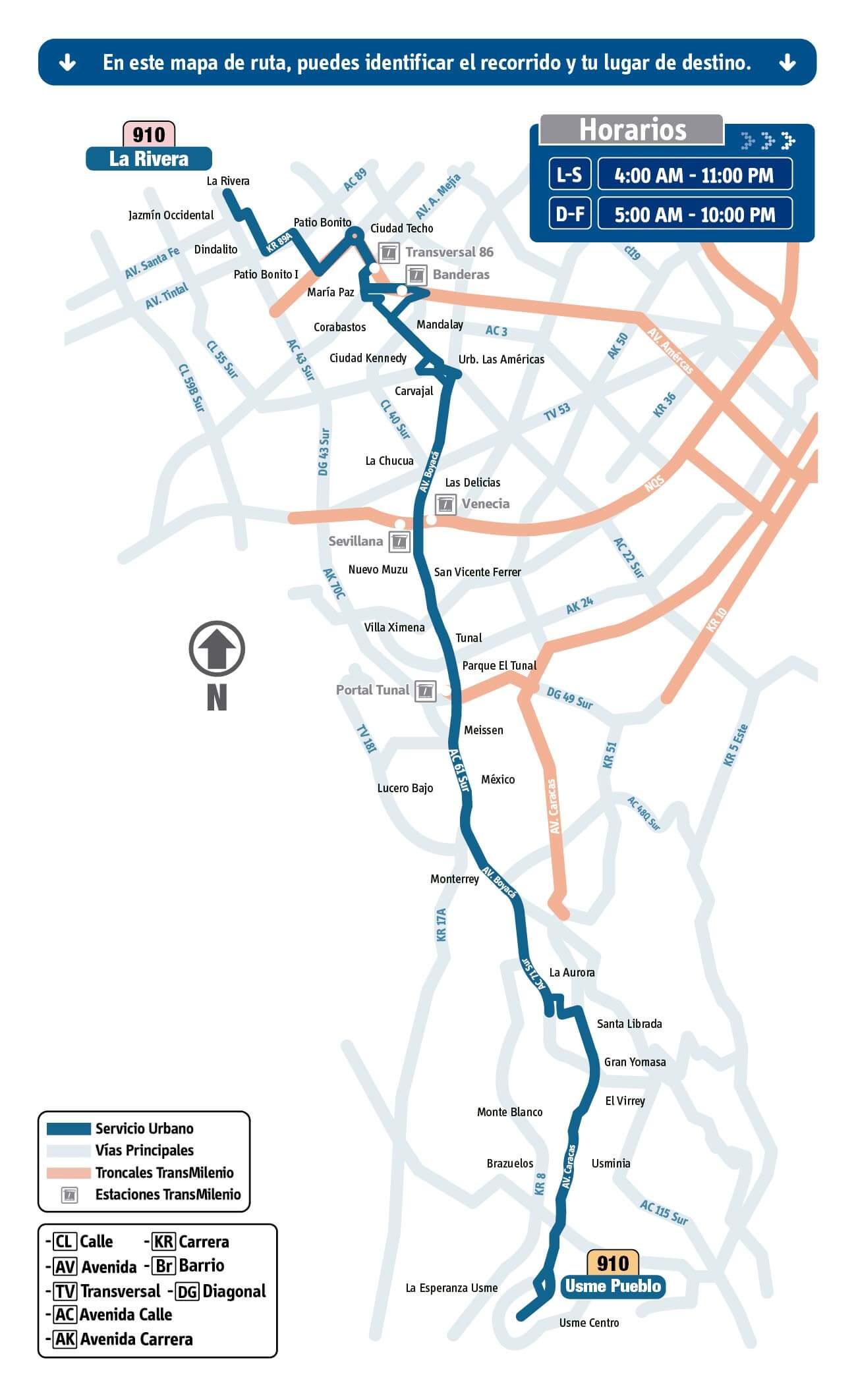 mapa de la Ruta 910 La Rivera - Usme Pueblo SITP
