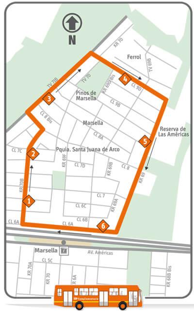 mapa de la Ruta del Servicio Complementario 22-2 Marsella, Rutas SITP