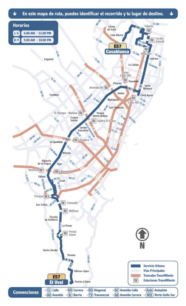 mapa de la Ruta E57 Casablanca - El Uval Rutas SITP