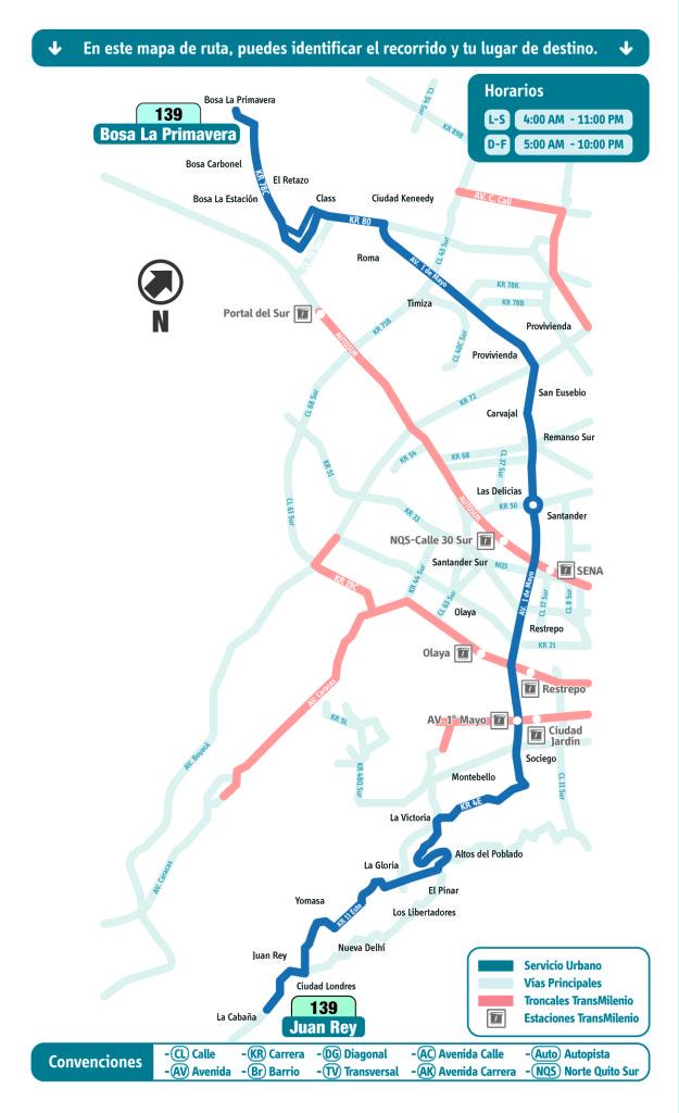 mapa de la Ruta 139 Bosa La Primavera - Juan Rey SITP bogotá