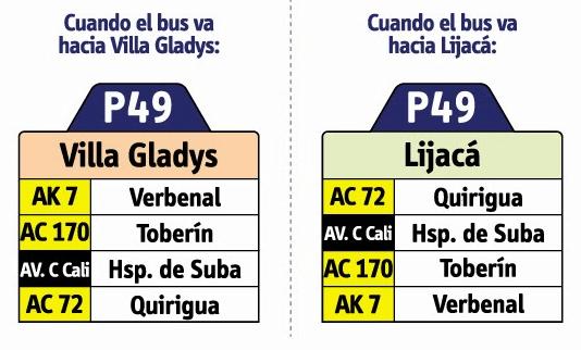 Tabla de la ruta P49 del sitp
