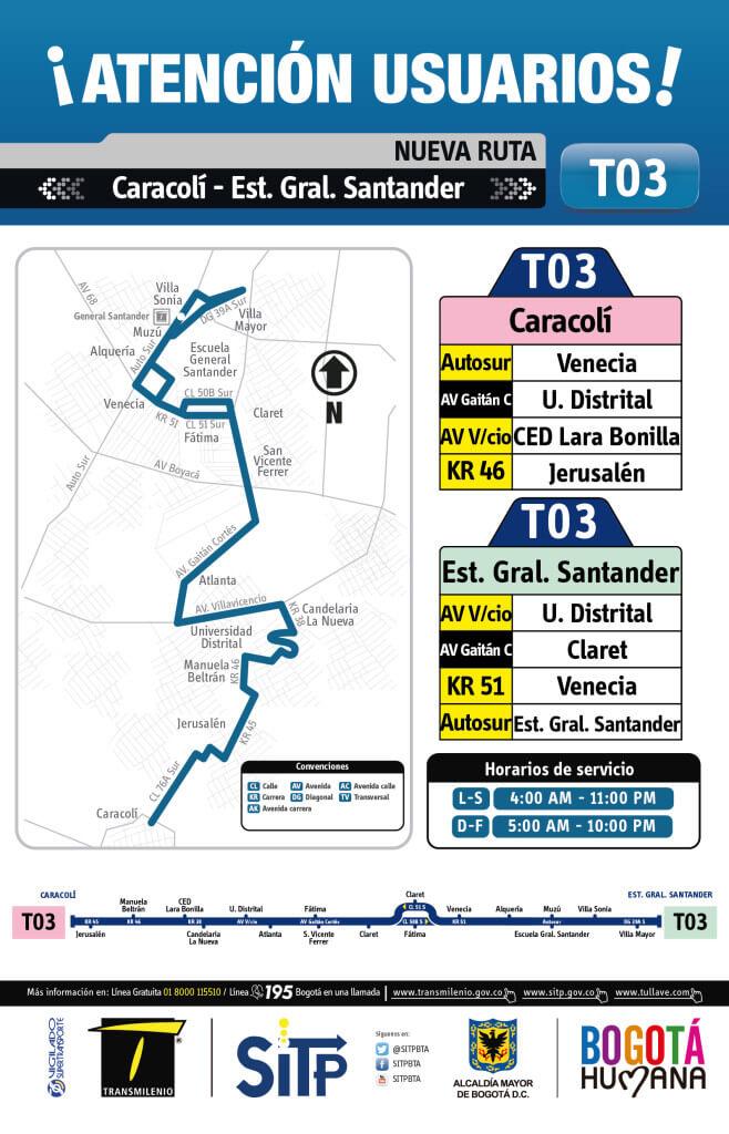 Ruta T03 Caracolí - Est. Gral. Santander, rutas SITP
