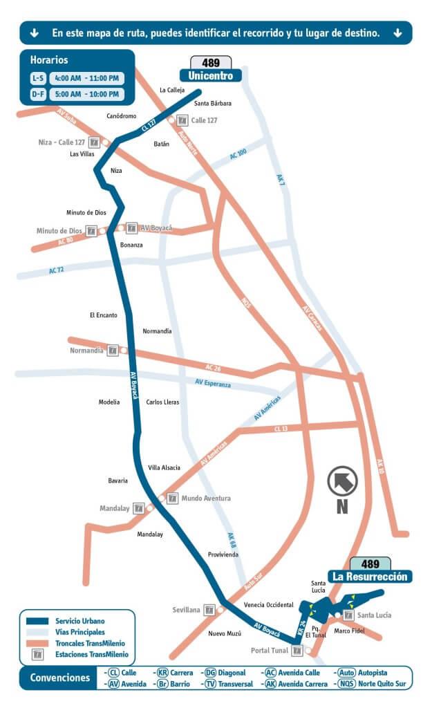 Ruta 489 Unicentro - La Resurrección rutas SITP