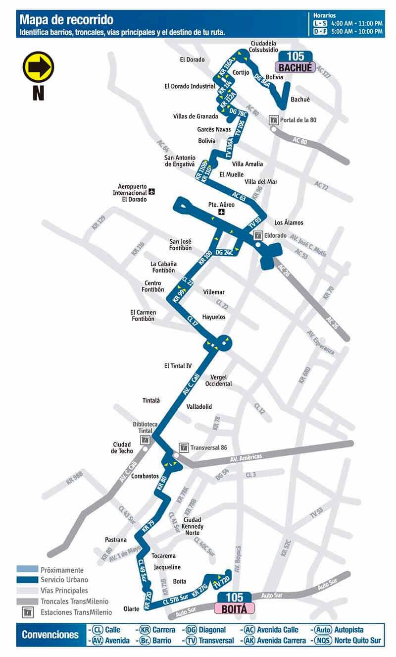 Mapa de la ruta 105 del SITP