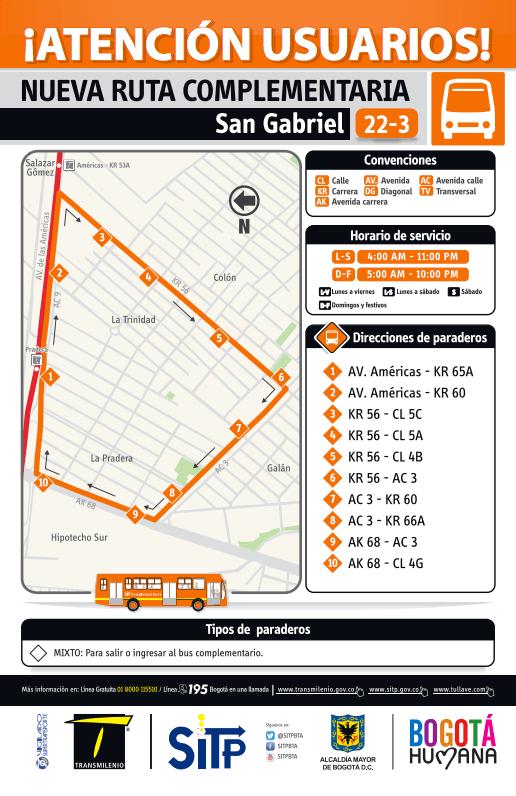 Ruta Complementaria 22-3 San Gabriel rutas sitp