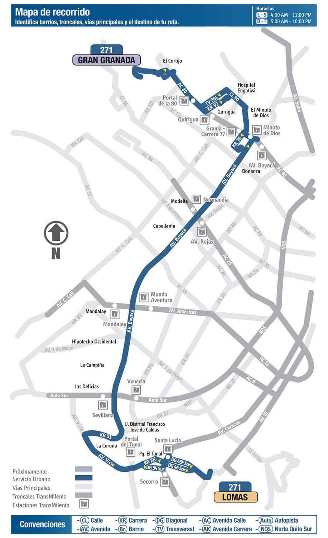 Mapa de la ruta 271 SITP