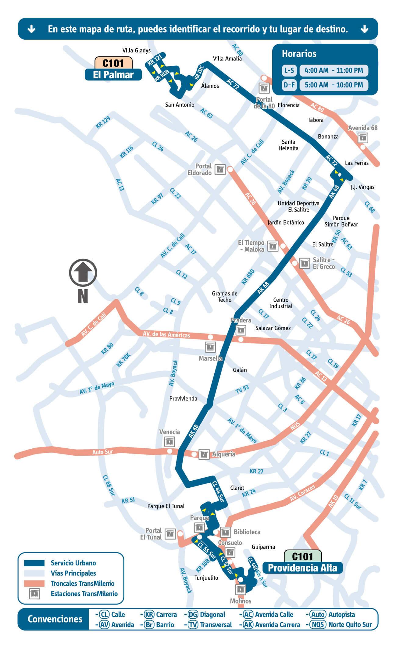 mapa de la Ruta C101 del SITP