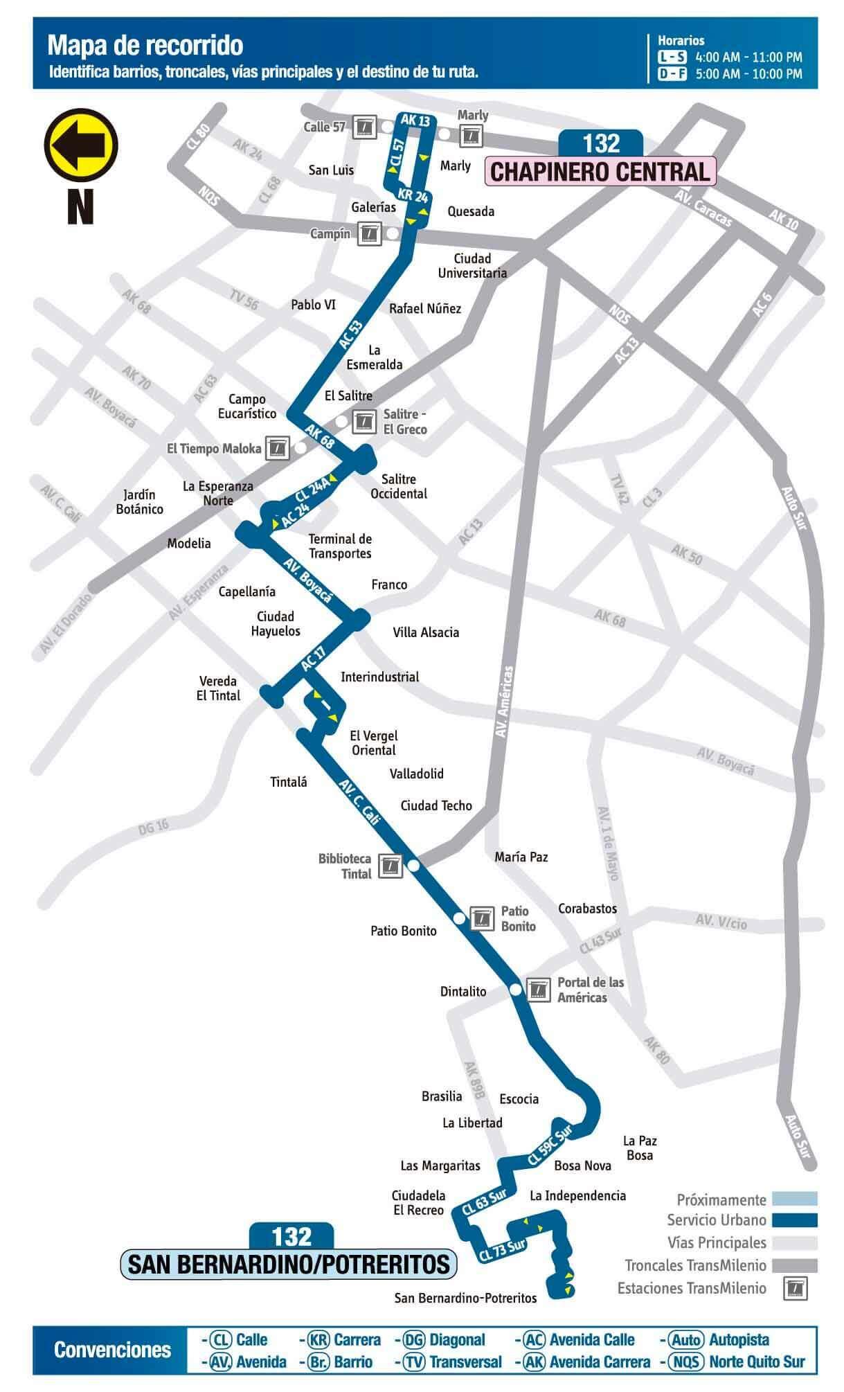 Mapa de la ruta 132 SITP