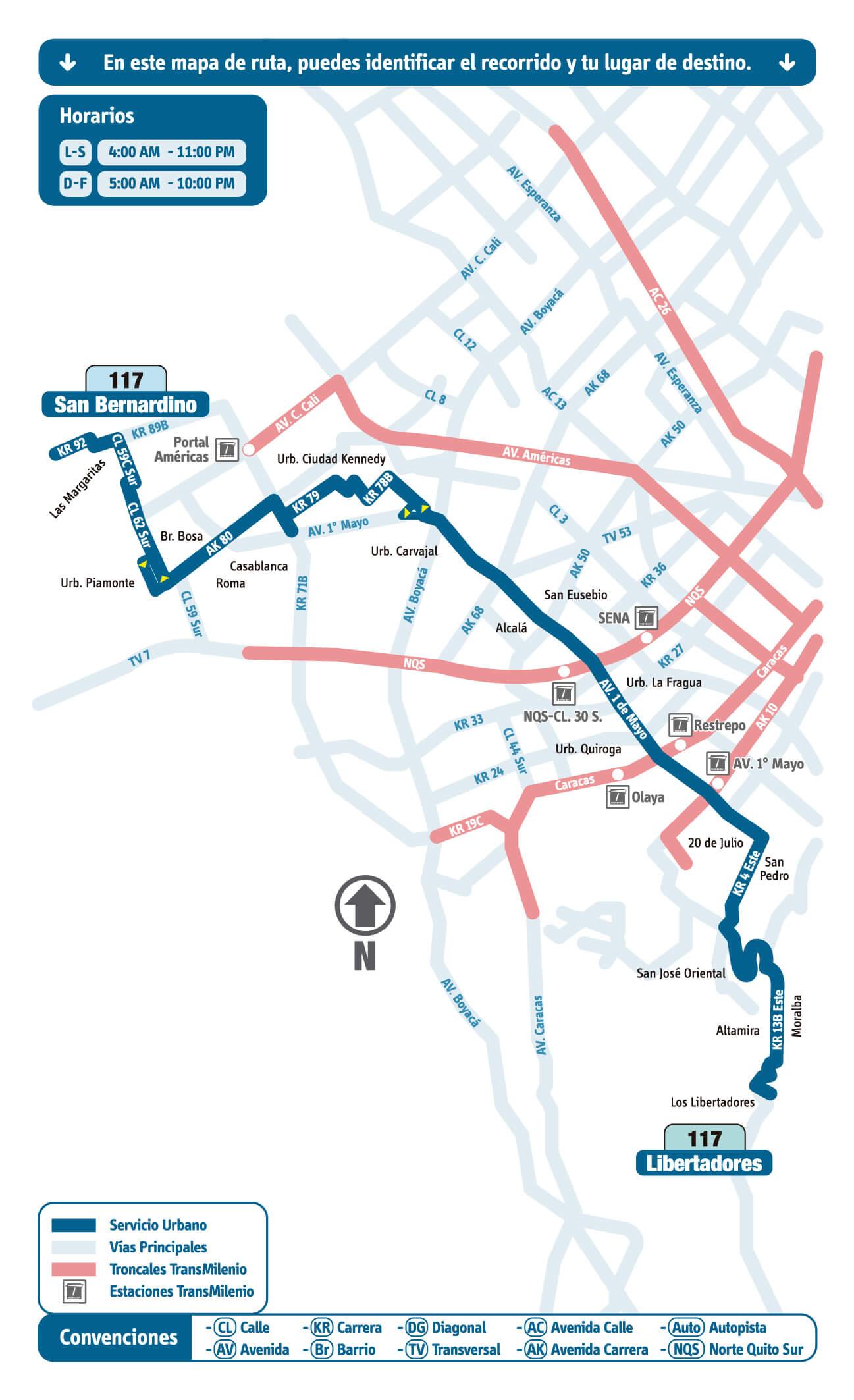 mapa de la Ruta 117 San Bernardino - Libertadores rutas sitp