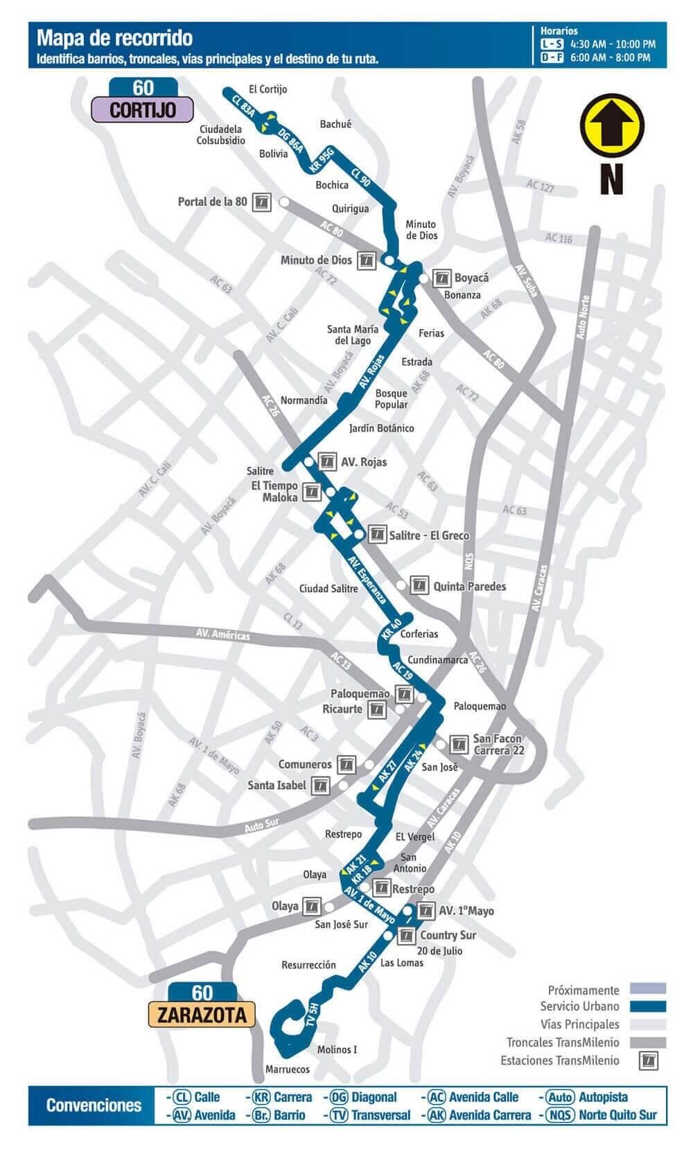 Mapa de la Ruta 60 del SITP