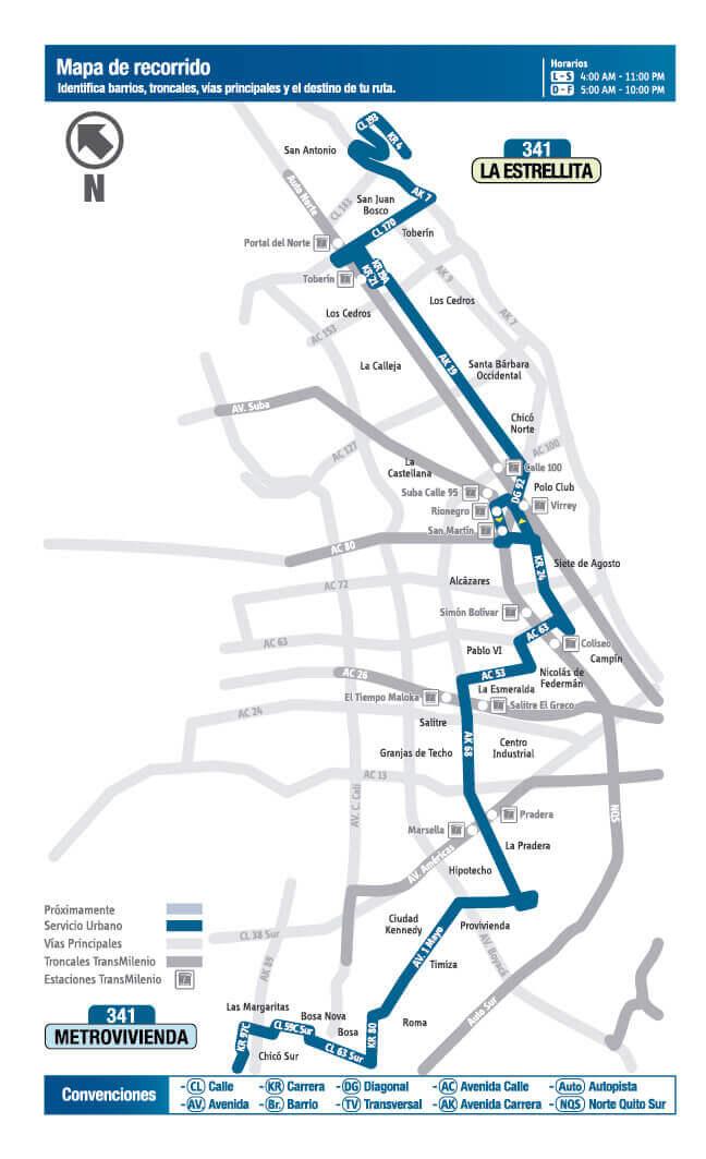 Mapa de la ruta 341 SITP