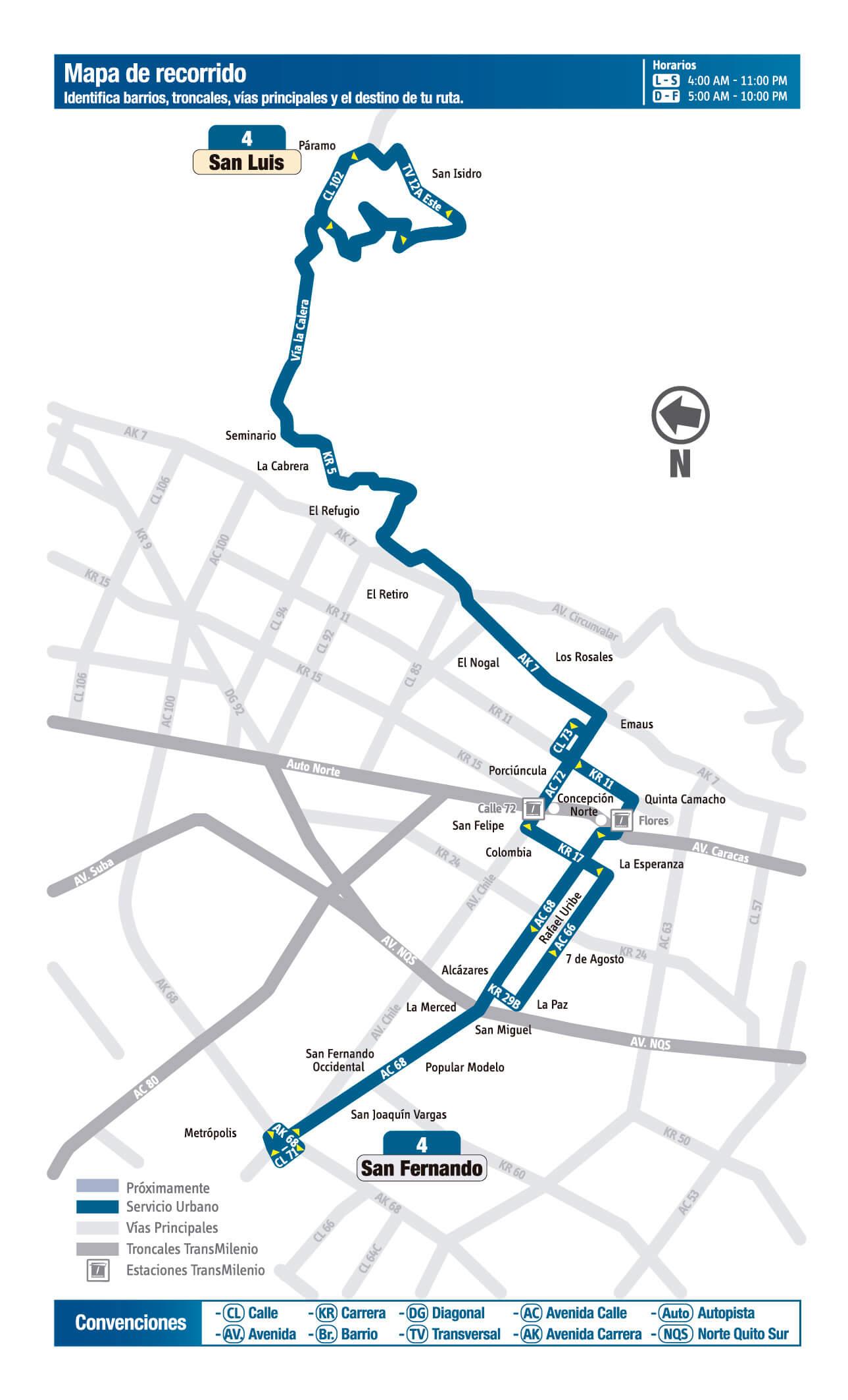 Mapa de la ruta 4 del SITP