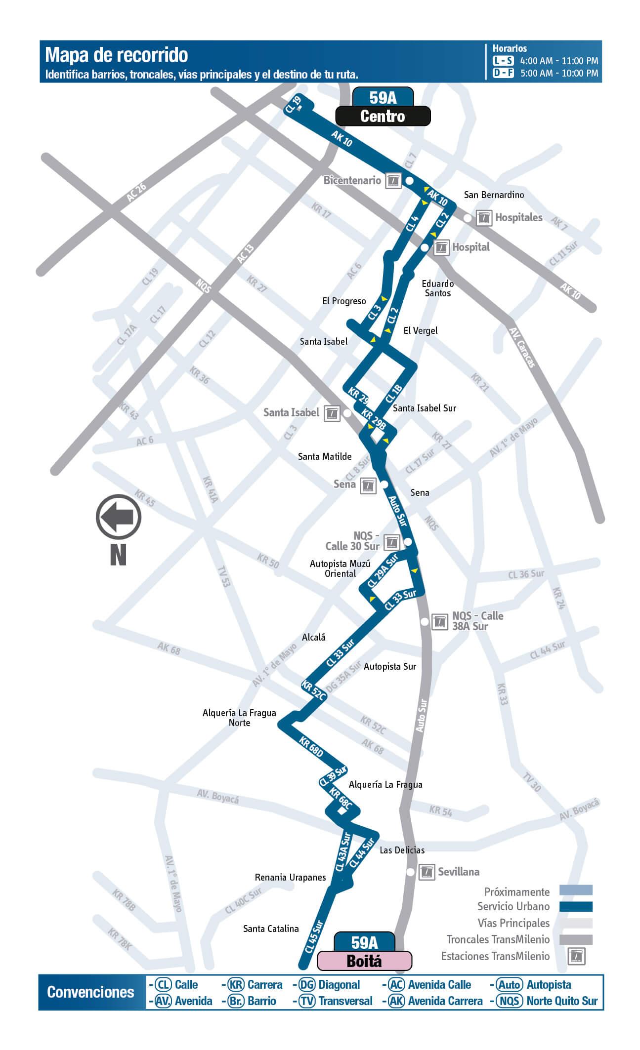 mapa de la ruta 59A del SITP