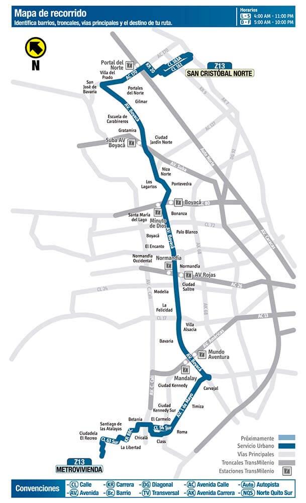 Mapa de la ruta Z13 SITP