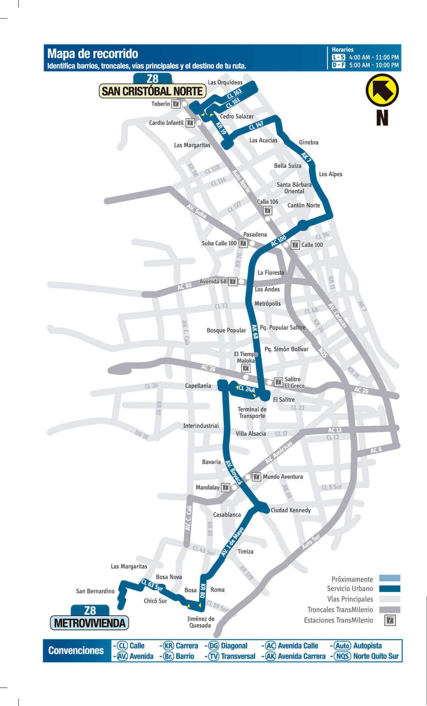 Ruta Z8 Sitp Mapa Completo Rutas Sitp Bogot
